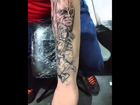 Superman batman half sleeve tattoo