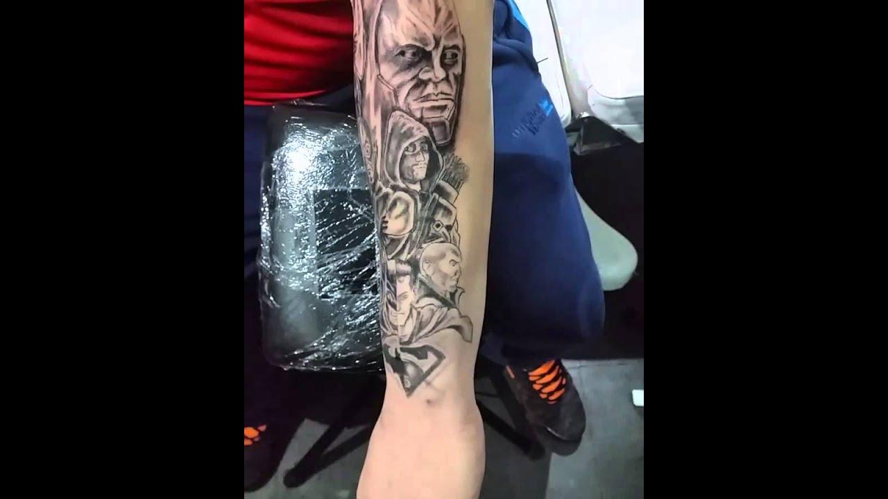 b31098d1f Superman batman half sleeve tattoo - YouTube