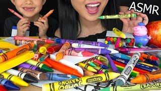 ASMR EDIBLE FOOD SCHOOL SUPPLIES  Eating Edible Prank Crayons &amp Fruit  No Talking ASMR PHAN