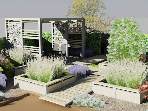 tuinontwerp moderne kleine achtertuin met staal vlonders
