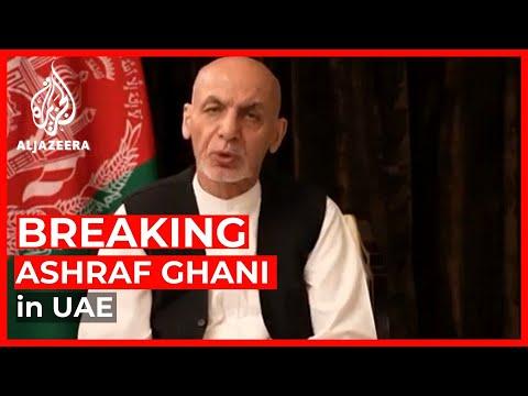 Afghan President Ashraf Ghani speaks from UAE