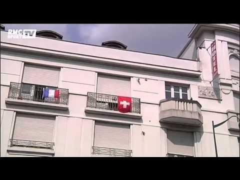 Football / Le match France-Suisse à la frontière des deux pays - 20/06