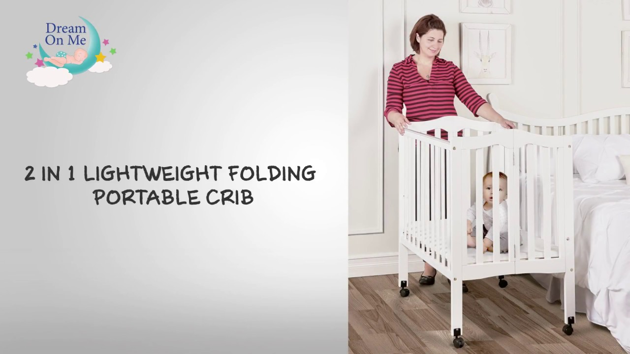 2 in 1 lightweight folding portable crib