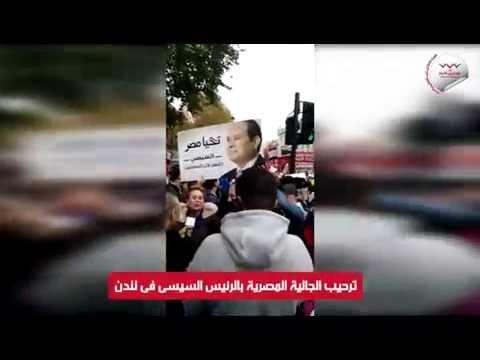 ترحيب الجالية المصرية بالرئيس السيسى فى لندن