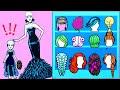 Paper Dolls Dress Up - Costume Barbie Hair Salon Dresses Handmade Quiet Book - Barbie Story & Crafts