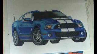 Drawing Cars, Mustang Shelby GT 500, marker pens and pencil, Music Reverbnation, The Masterbakers