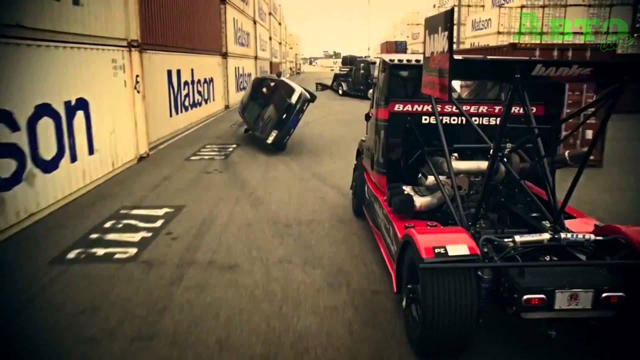 Кошки-мышки в порту: гоночный тягач против дрифт-кара