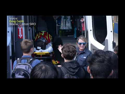 Junior Cadets at Walter Colton Middle School receive visit by paramedics