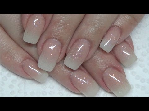 Glittery Baby Boomer Acrylic Nails Ombre Gradient