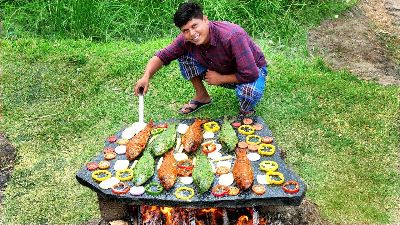 STONE GRILLED FISH | കരിങ്കല്ലിൽ ചുട്ട മീൻ | Fish Fry On Stone | Village Food