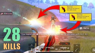 SHOOTING LAST GUY WITH 2 FLARE GUNS | 28 KILLS | LEVINHO | DUO SQUAD | PUBG MOBILE