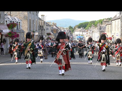 Scotland the Brave by the Massed Bands on the march after the 2019 Dufftown Highland Games in Moray