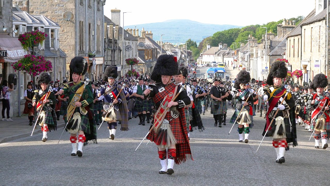 Download Scotland the Brave by the Massed Bands on the march after the 2019 Dufftown Highland Games in Moray