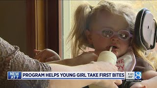 Intensive therapy helps girl, 3, take first bites