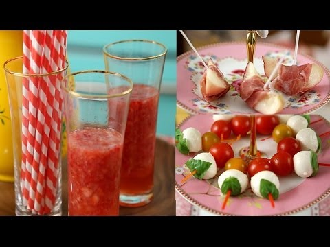Light and fresh party food - How to make a fruity drink and two fresh appetizers.