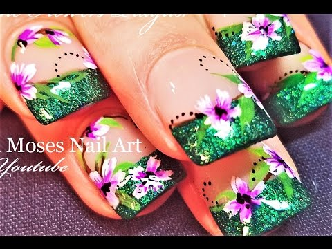 DIY Green Glitter Tips with Lavender Flower hand painted Nails Art Design  Tutorial