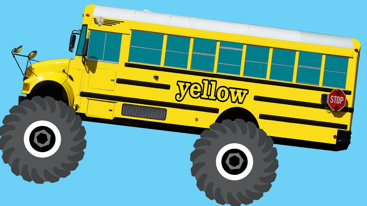 Monster Truck School Buses Teaching Colors Crushing Words