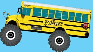 Monster Truck School Buses Teaching Colors & Crushing Words - Learning Basic Colors Video for Kids