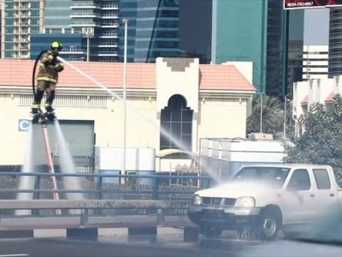 Raw: Dubai Firefighters Demo Water Jet Packs