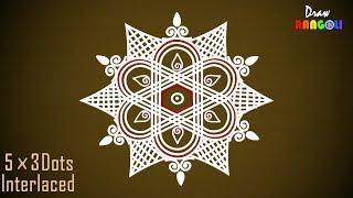 New Padi Kolam 5 to 3 Dots| Margazhi kolam| Friday Kolam | Sankranthi Muggulu |DR021| Draw Rangoli
