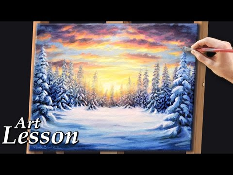 Painting A Realistic Winter Landscape At Sunset Youtube