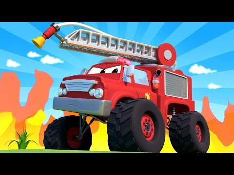 Monster Town - Monster Truck Fire Truck helps the Monster Trucks Cranes ! Monster Truck of Car City