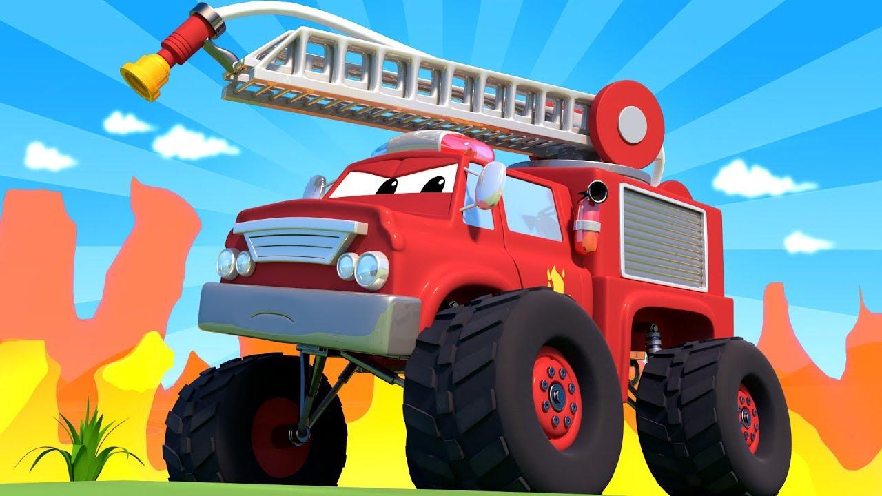Monster Town Monster Truck Fire Truck Helps The Monster Trucks Cranes Monster Truck Of Car City Youtube