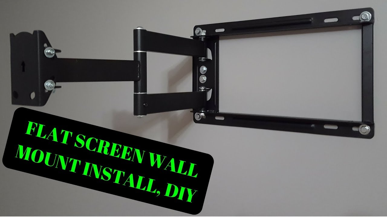 how to install a large flat screen led lcd plasma tv wall mount diy youtube. Black Bedroom Furniture Sets. Home Design Ideas