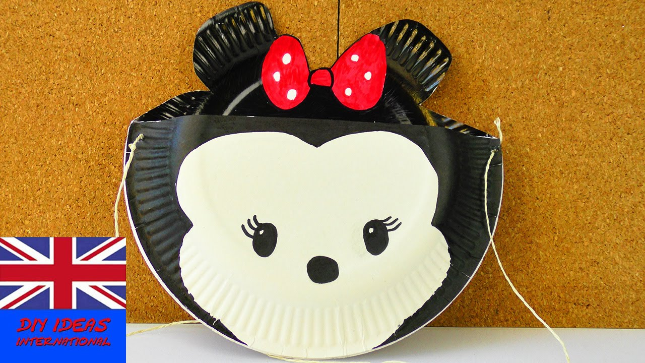 MINNIE MOUSE BAG! Made with paper plates! Storage idea for the house and the street & MINNIE MOUSE BAG! Made with paper plates! Storage idea for the ...