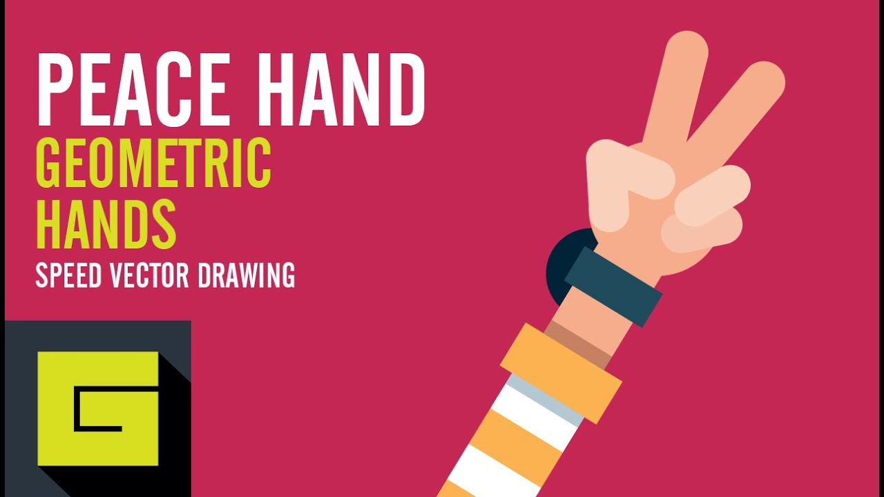 Speed Drawing, How to draw Flat Hand, Peace Hand, Adobe Illustrator