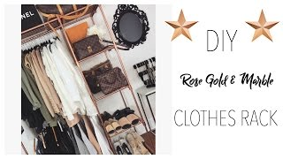 DIY: ROSE GOLD & MARBLE CLOTHES RACK ON A BUDGET! | Toni Sevdalis