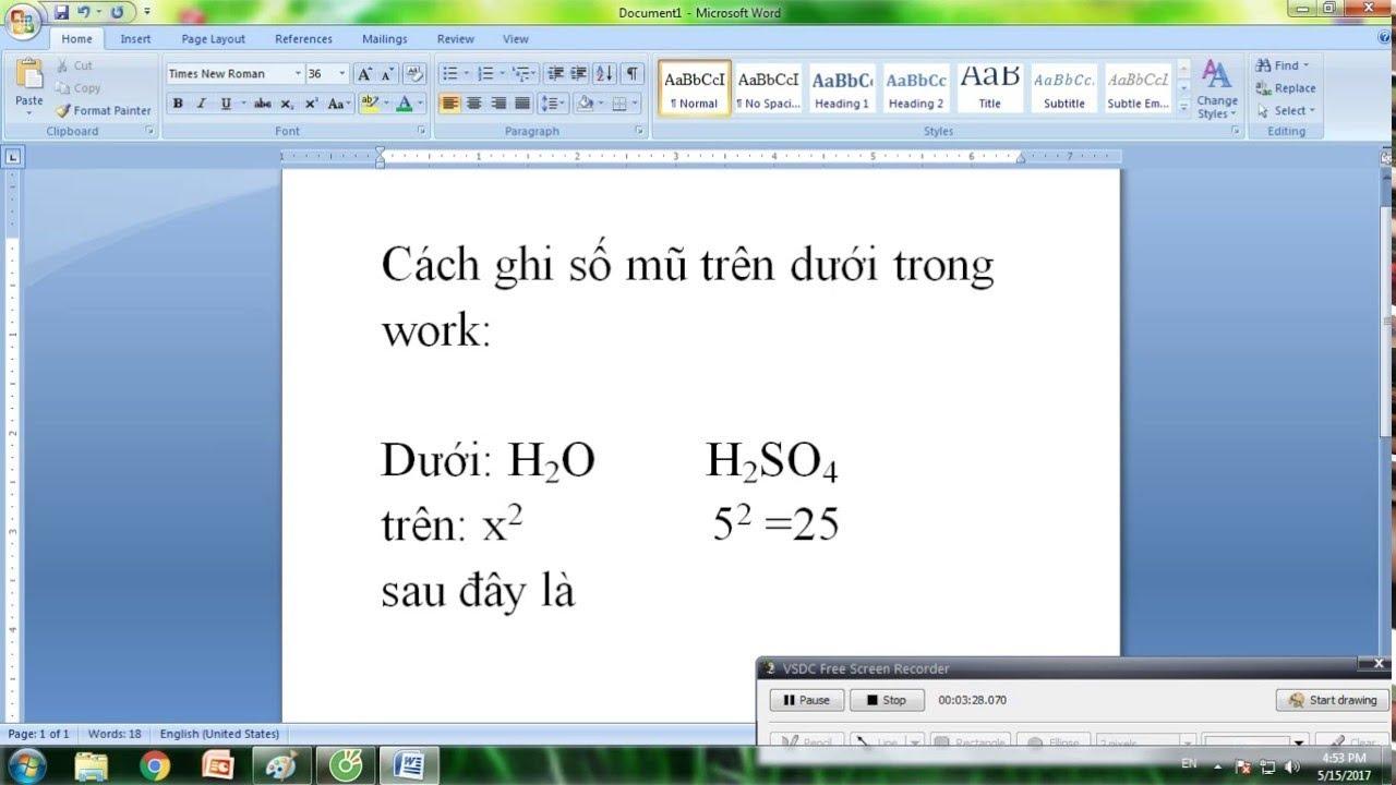 Hướng dẫn cách nhập chỉ số trên và chỉ số dưới trong văn bản soạn thảo bằng Microsoft Word 2007