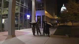 """Beetle Birds"" Stilt Walkers in Madison"