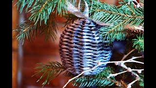 Новогодний плетёный шар на ёлку