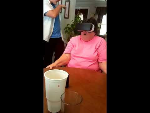 Old Woman Rides Virtual Reality Coaster