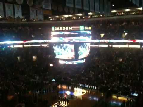 National Anthem before NBA game 2011 Boston Celtics vs San Antonio Spurs