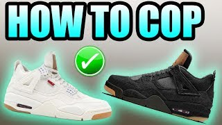 How To Get The BLACK + WHITE JORDAN 4 LEVIS !   White + Black Jordan 4 Levis Release Info !