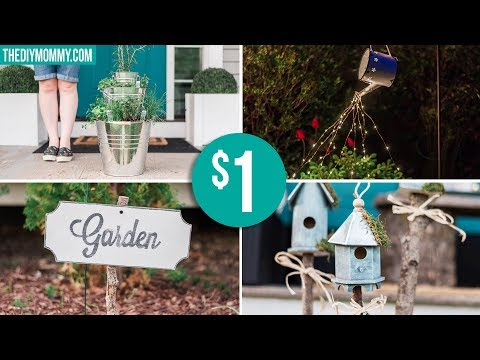 DOLLAR STORE GARDEN DIY IDEAS | Farmhouse Inspired Light, Planter, Sign & Birdhouses