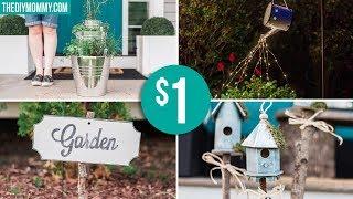 DOLLAR STORE GARDEN DIY IDEAS | Farmhouse Inspired Light, Planter, Sign & Birdhouses