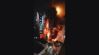 Burning building collapses in Sao Paulo, Brazil