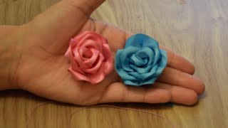 Make Rose Flower from Satin Ribbon.DIY.