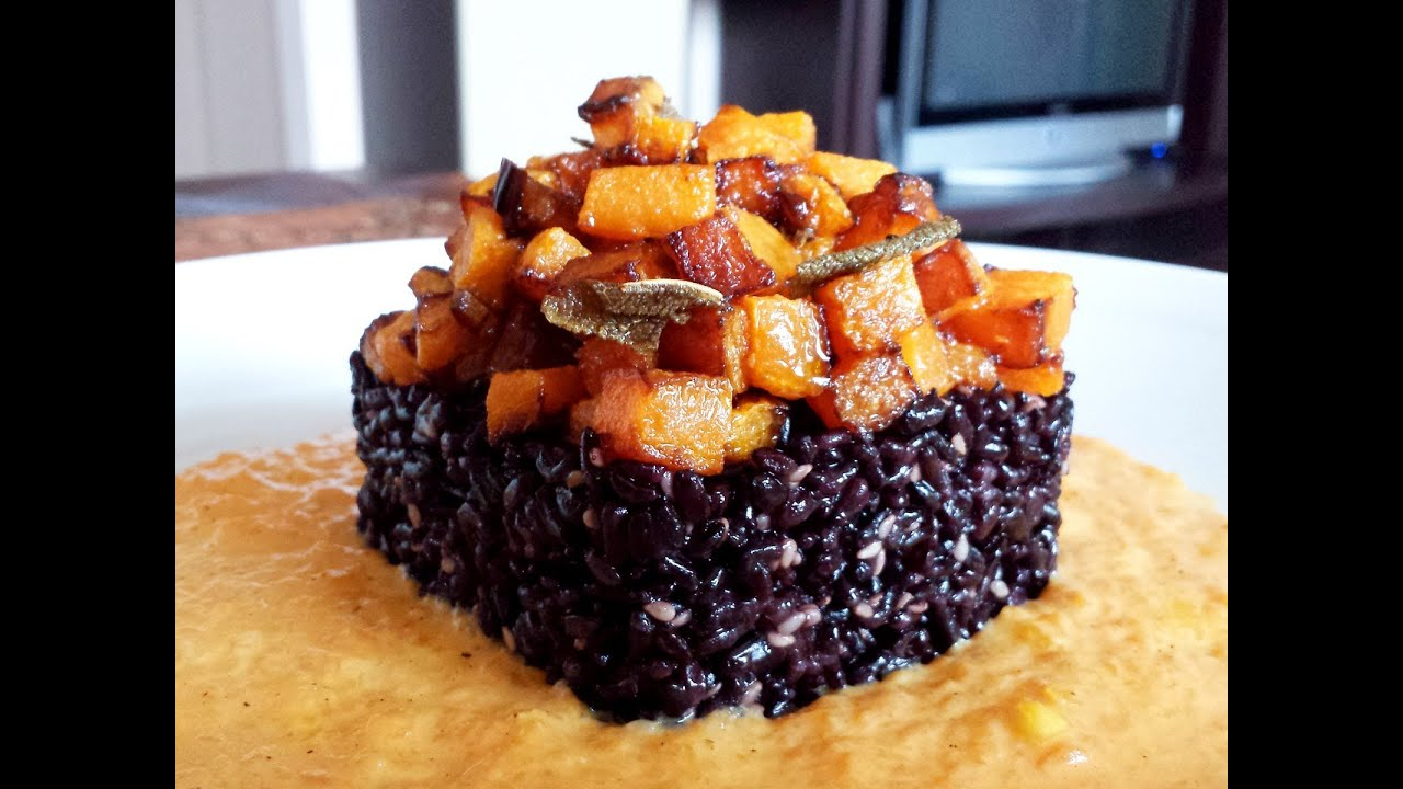 Riso venere in crema di zucca le video ricette di lara for Ricette di riso