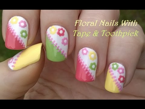 tape & toothpick nail art colorful