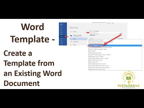 Word Template - Create a Template from an Existing Document - YouTube