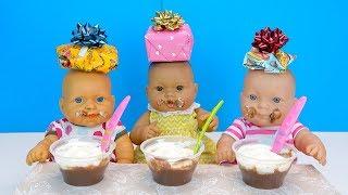 Подарки Сюрпризы и Сладкий Стол Для детей #Куклы Пупсики На Детском Празднике Кушают Играют 108mam
