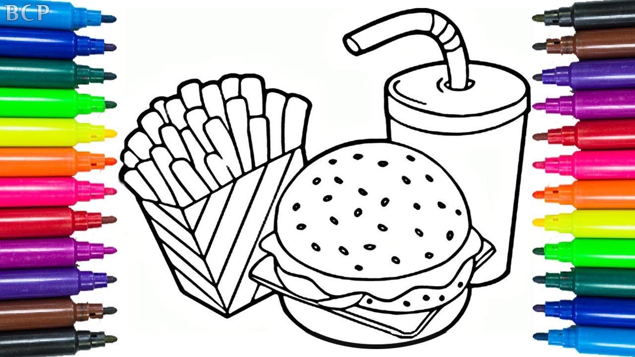 how to draw cheeseburger coloring book for kids drawing fast food art colouring pages for children
