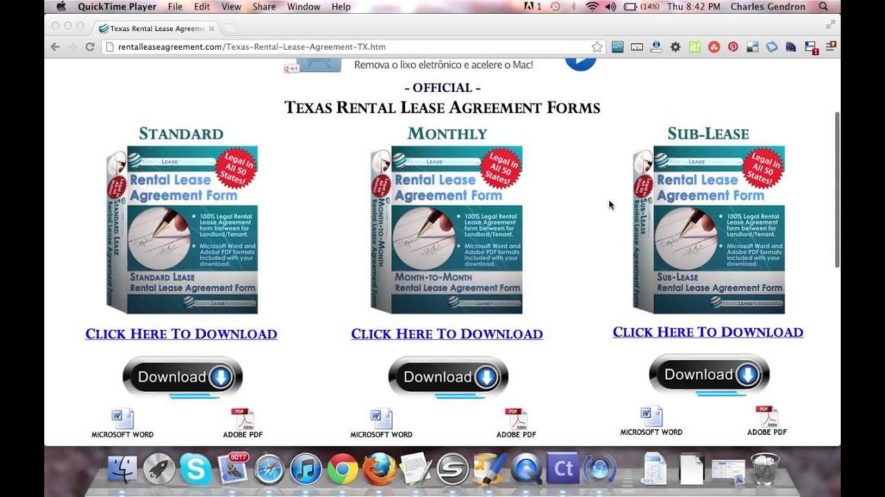 Texas Rental Agreement Youtube