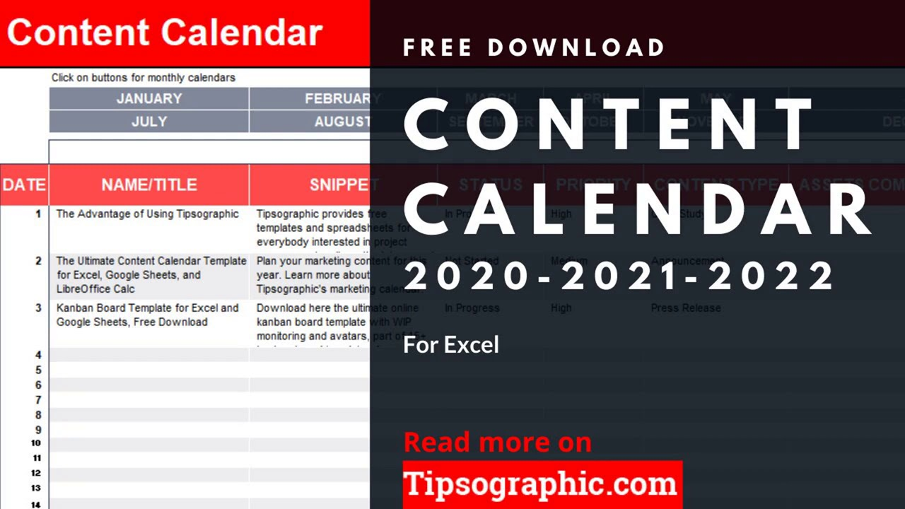 Free Content Calendar Template 2021 Content Calendar Template for Excel, Free Download (2020–2021–2022