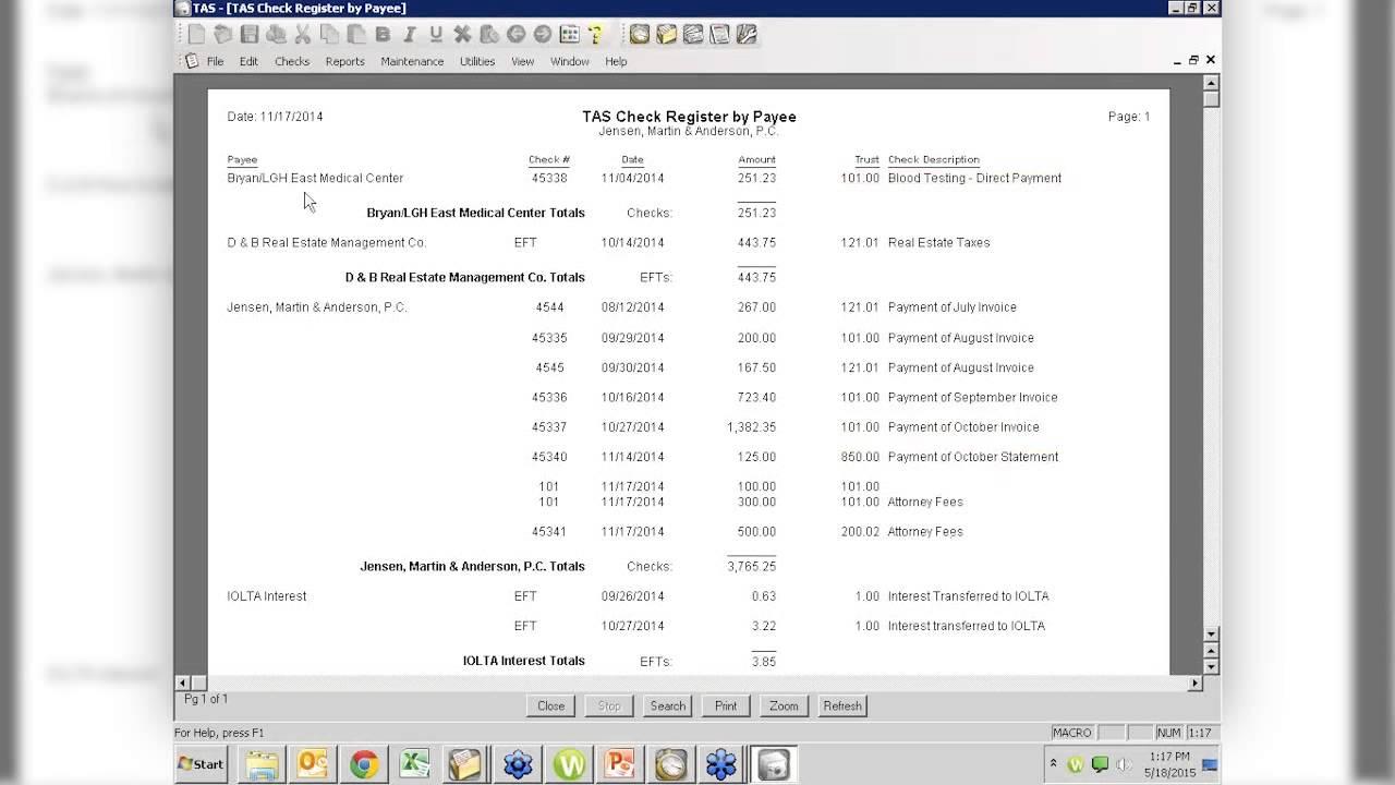 register balance sheet
