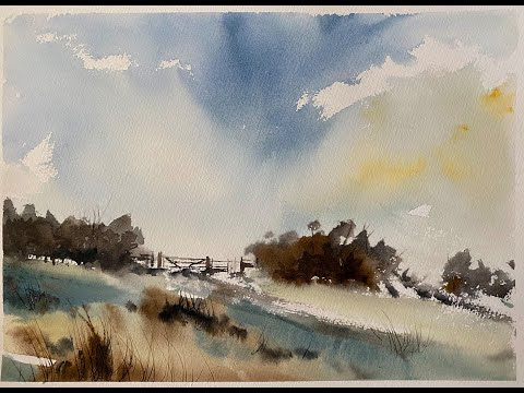 Loose Watercolour Landscape, South Downs in the style of Wesson, simple watercolor painting